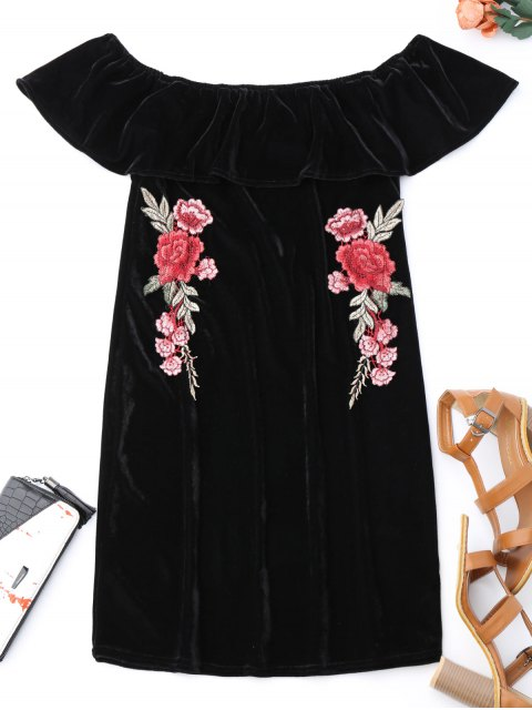 trendy Off Shoulder Ruffle Floral Bodycon Dress - BLACK S Mobile