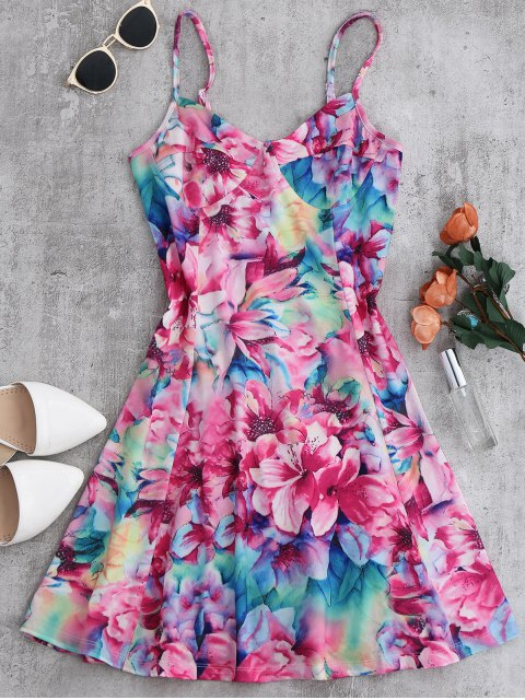 fancy Floral Empire Waist Slip Dress - FLORAL L Mobile