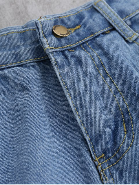trendy Cutoffs Ripped Shorts - LIGHT BLUE S Mobile