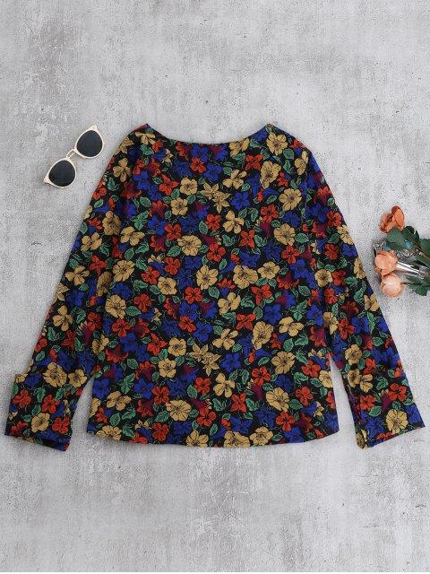hot V Neck Floral Blouse - FLORAL S Mobile