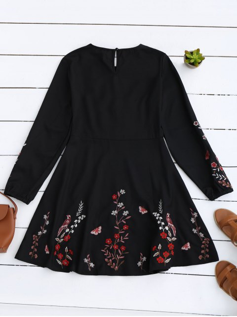 fashion Floral Embroidered Vintage A-Line Dress - BLACK S Mobile