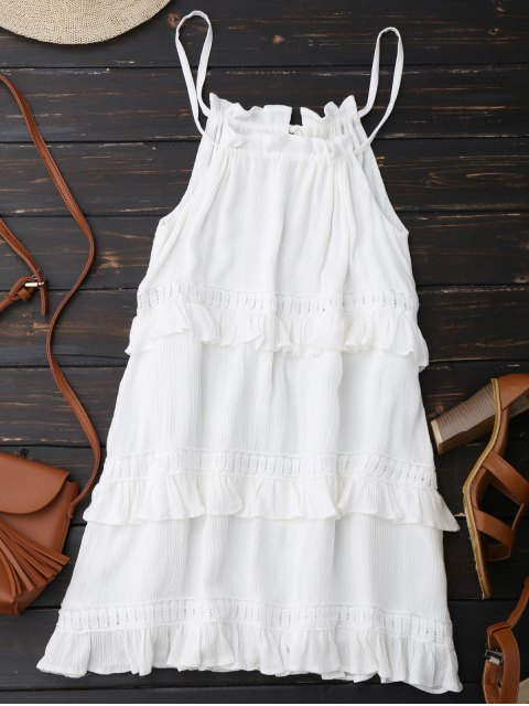 shops Slip Ruffle Summer Dress - WHITE M Mobile