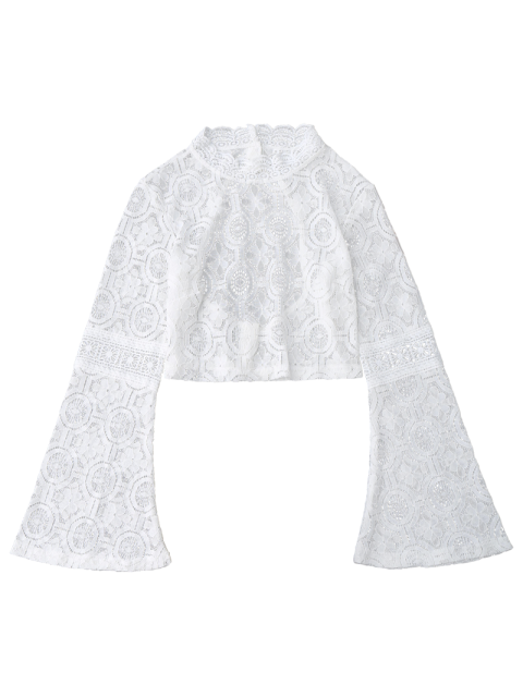 fancy Low Back Flare Sleeve Lace Crop Top - WHITE S Mobile