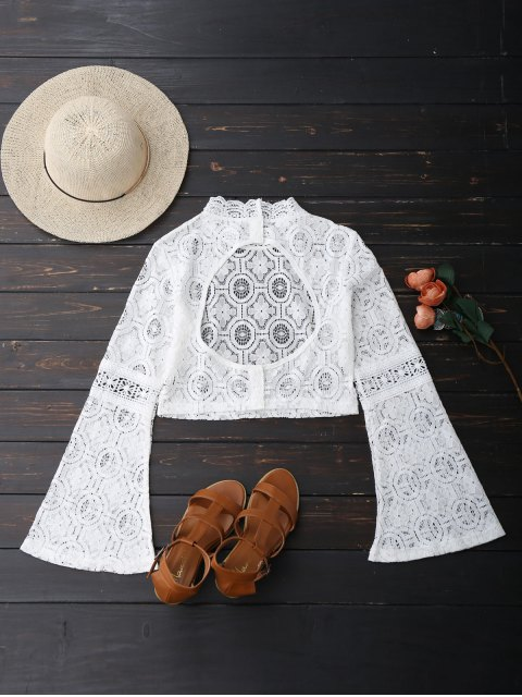 affordable Low Back Flare Sleeve Lace Crop Top - WHITE XL Mobile