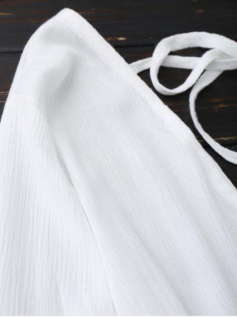 hot Plunge Low Back Linen Romper - WHITE XL Mobile