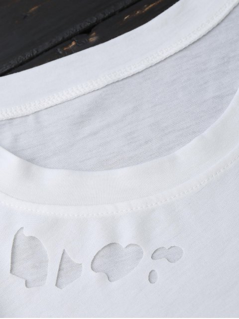 chic Ripped Short Sleeve T-Shirt - WHITE S Mobile