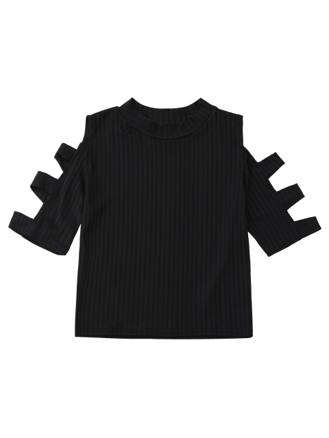best Mock Neck Cut Out Sleeve Cropped Top - BLACK S Mobile