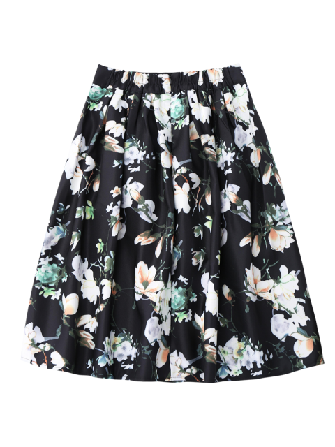 new A Line Floral Skirt - BLACK ONE SIZE Mobile
