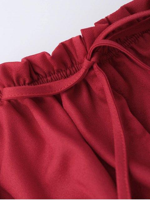 buy Off Shoulder Drawstring Cropped Top - RED S Mobile