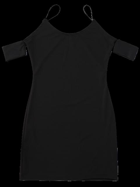 shops Cold Shoulder Spaghetti Strap Dress - BLACK M Mobile