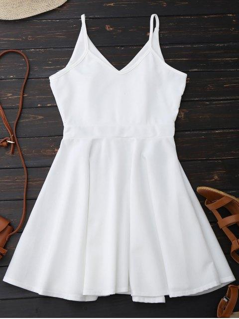 online Spaghetti Straps Skater Dress - WHITE XL Mobile