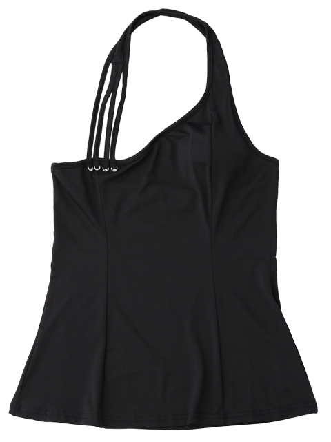 women's Halter Strappy Tank Top - BLACK S Mobile
