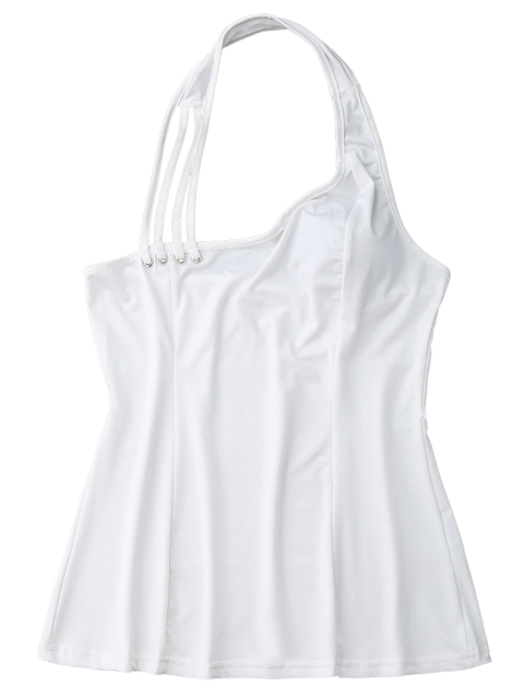 online Halter Strappy Tank Top - WHITE XL Mobile