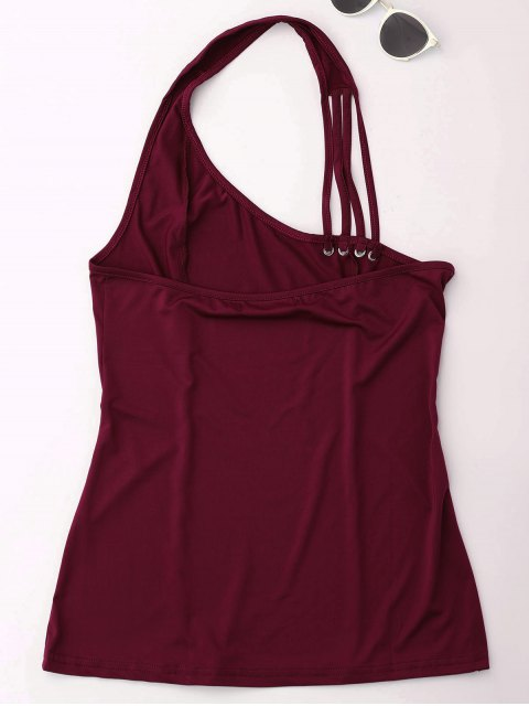 fancy Halter Strappy Tank Top - WINE RED S Mobile