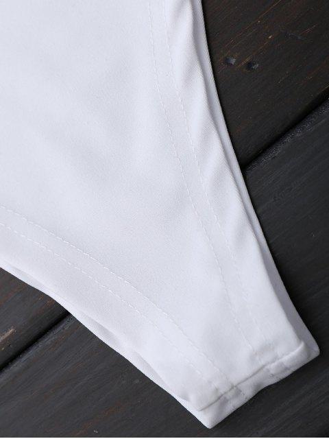 women One Shoulder Mesh Ruffle Bodysuit - WHITE S Mobile