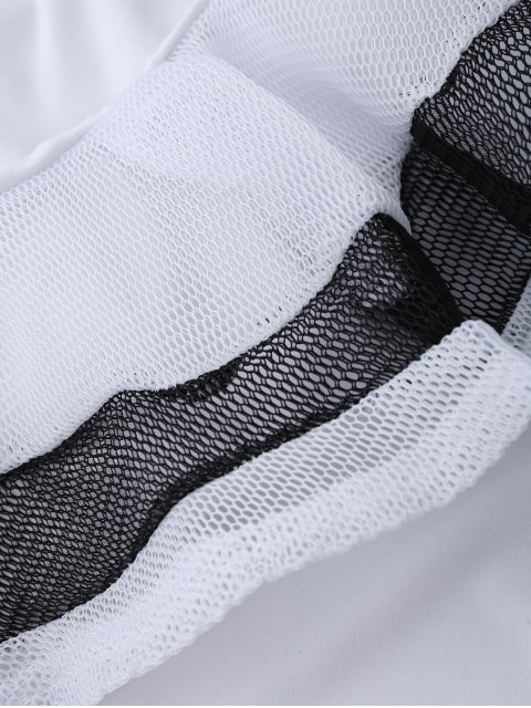 women's One Shoulder Mesh Ruffle Bodysuit - WHITE M Mobile