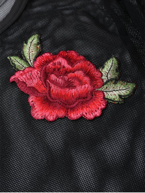 women Mesh See Thru Rose Embroidered Crop Top - BLACK S Mobile