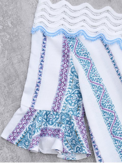 sale Lace V Neck Flare Sleeve Print Top - WHITE XL Mobile