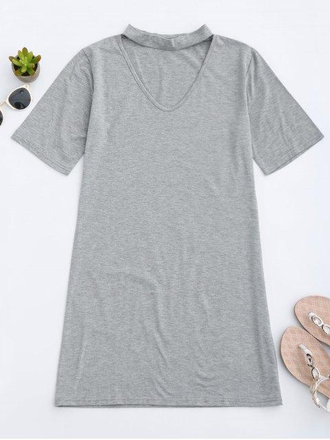 unique Choker Shift T-Shirt Dress - GRAY XL Mobile