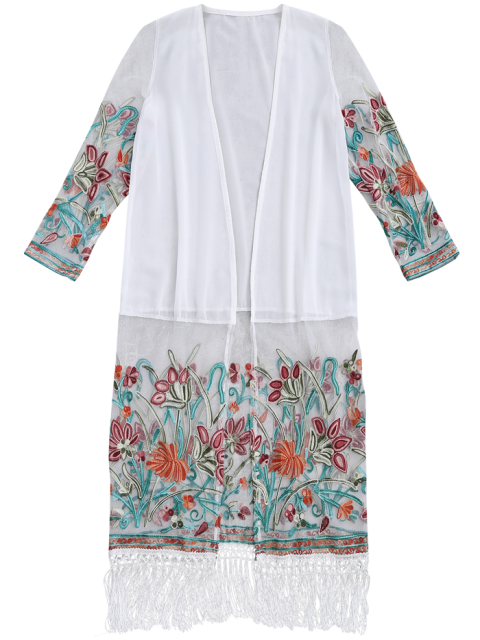 womens Floral Embroidered Mesh Fringed Dust Coat - WHITE ONE SIZE Mobile