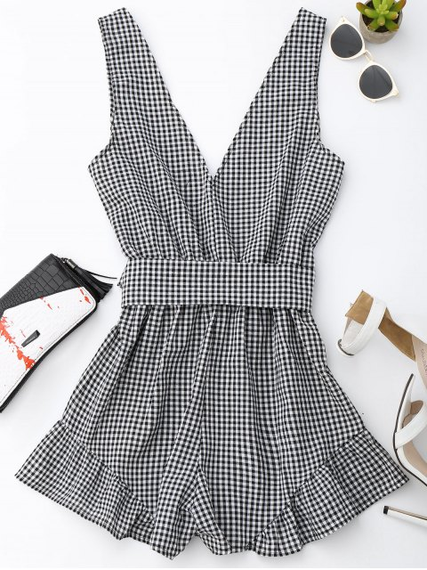 outfit Checked Plunge Romper - BLACK S Mobile