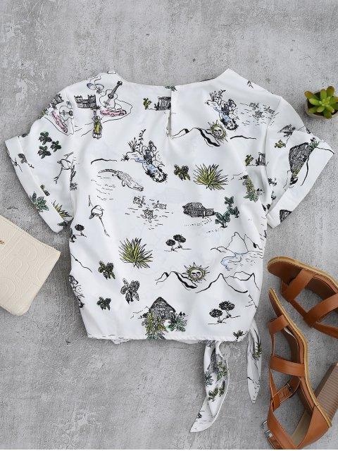 chic Printed Side Tie Poplin Top - WHITE L Mobile