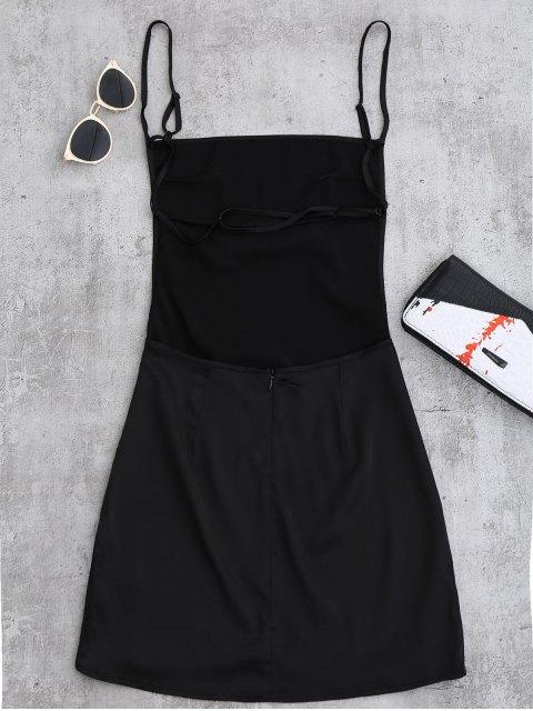 shop Backless Mini Slip Dress - BLACK S Mobile