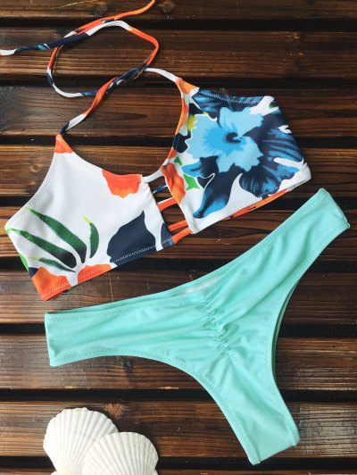 Traje De Bikini Fruncido Floral Con Detalle Escotado De Escalera - Azul Verde S
