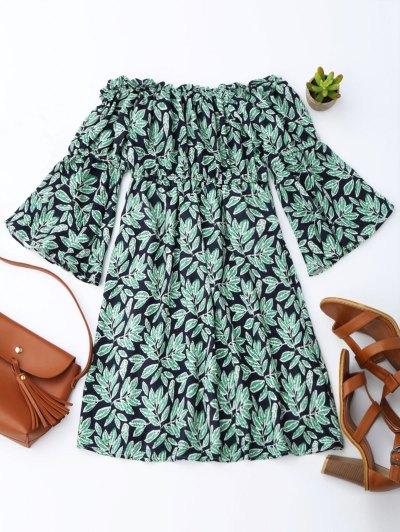 Leaf Print Flare Sleeve Off Shoulder Dress - Purplish Blue
