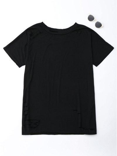 Cut Out Oversized Tunic T-Shirt - Black