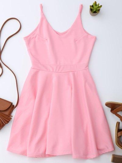 Spaghetti Straps Skater Dress - Pink