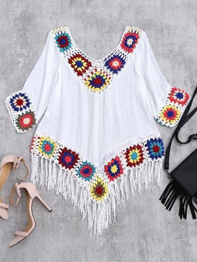 Crochet V Neck Fringed Linen Top - White