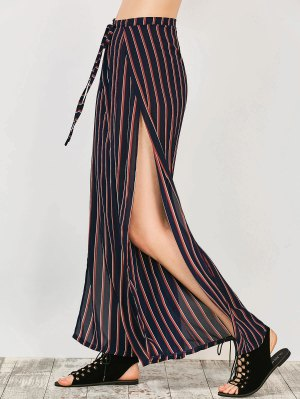 High Split Wide Leg Palazzo Pants - Stripe