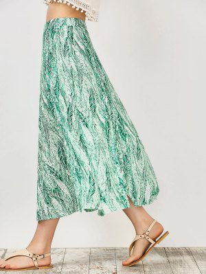 Leaf Print Slit Chiffon Midi Skirt - Green