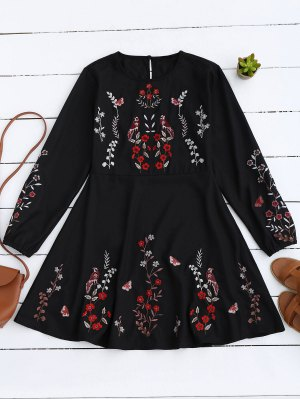 Floral Embroidered Vintage A-Line Dress - Black