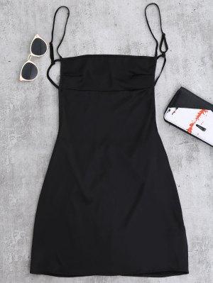 Backless Mini Slip Dress - Black
