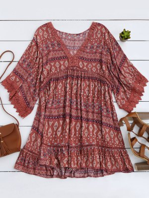 Printed Lace Trim Kimono Dress - Russet-red