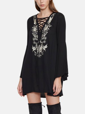 Embroidered Lace Up Tunic Dress - Black