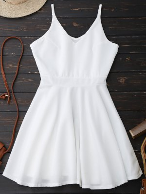 Spaghetti Straps Skater Dress - White