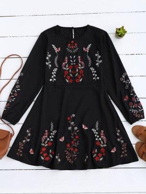 Floral Embroidered Vintage A-Line Dress - Black