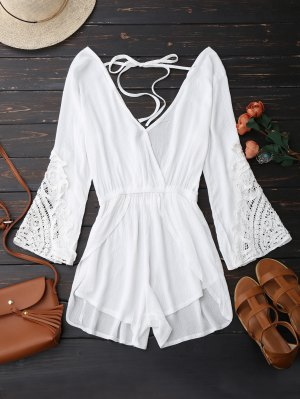 Plunge Low Back Linen Romper