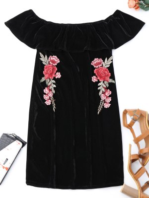Off Shoulder Ruffle Floral Bodycon Dress - Black