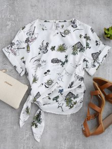 Printed Side Tie Poplin Top - White