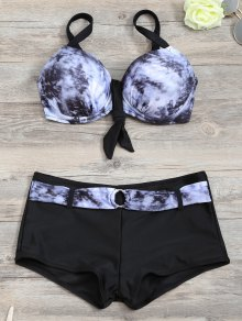 Tie-Dyed Underwire Tied Bikini Bra with Boxers