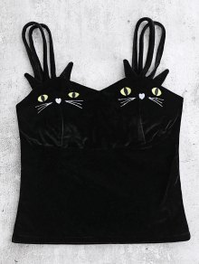Cat Embroidered Velvet Top