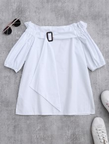 Off Shoulder Ruffle Blouse With Belt - White