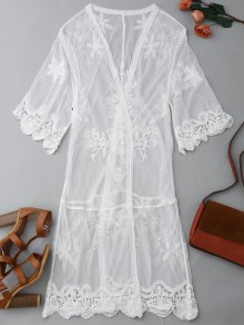 Sheer Lace Open Front Kimono Dust Coat