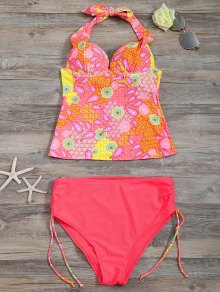 High Waisted Paisley Runched Tankini - Fluorescent Pink