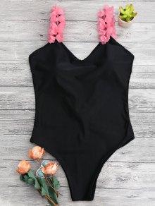 3D Floral Straps Open Back Swimsuit - Black