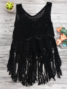 Tasselled Beach Crochet Cover Up Tank Top